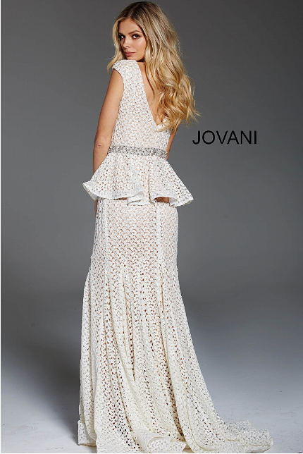 Ivory Nude V Neck Cap Sleeve Jovani Evening Lace Dress 60996