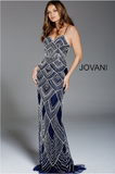 Navy Beaded Spaghetti Straps Fitted Jovani Formal Dress 60653