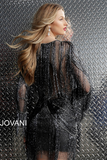 Gunmetal Fully Beaded Long Sleeve Jovani Short Dress 61636