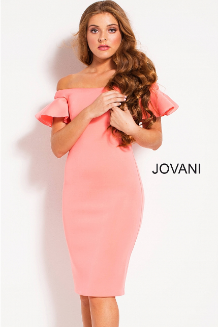 Light Coral Off the Shoulder Knee Length Jovani Cocktail Dress 55562
