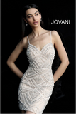Nude Beaded Spaghetti Straps Jovani Short Dress 64598