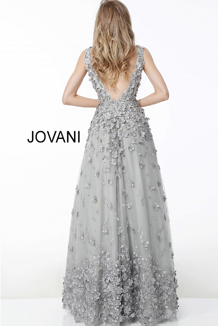 Grey Floral Applique Sleeveless A Line Jovani Evening Gown 59384