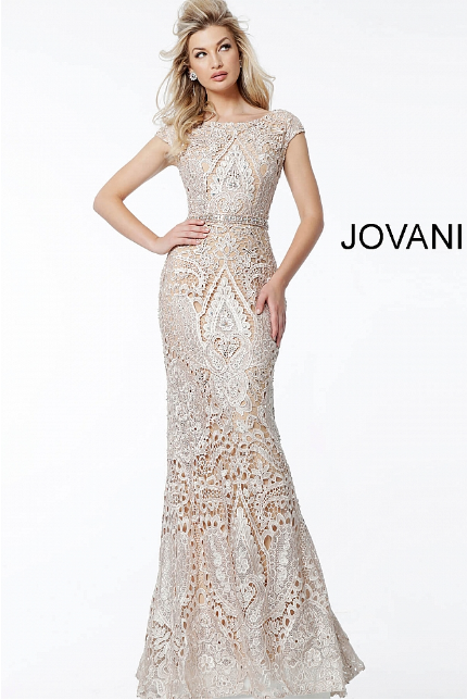 Champagne Lace Boat Neckline Fitted Jovani Evening Dress 61495