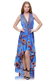 Azure Blue Birds Shahida Parides Hi Low Dress