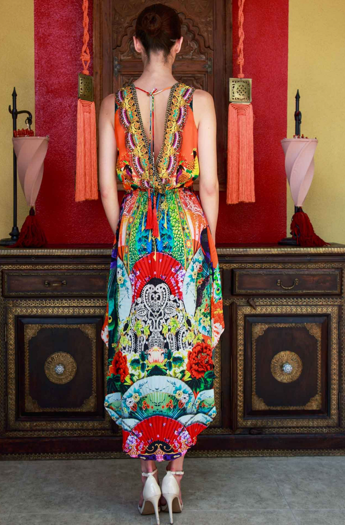 JAPANESE SUNSET HIGH LOW SHAHIDA PARIDES DRESS