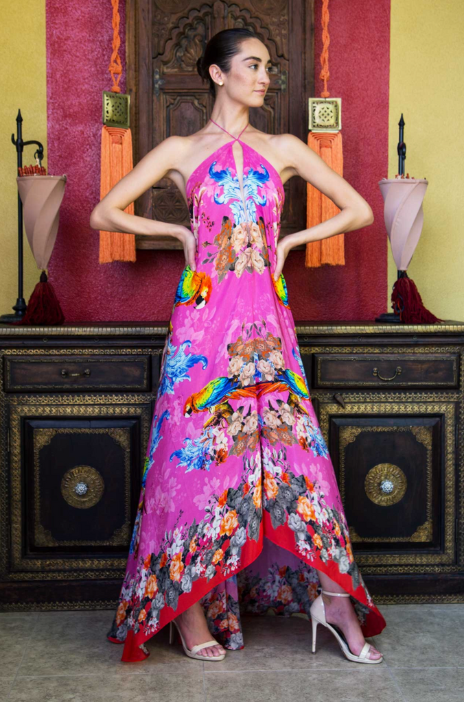 Pink Tropical Bird Shahida Parides 3 Way Dress