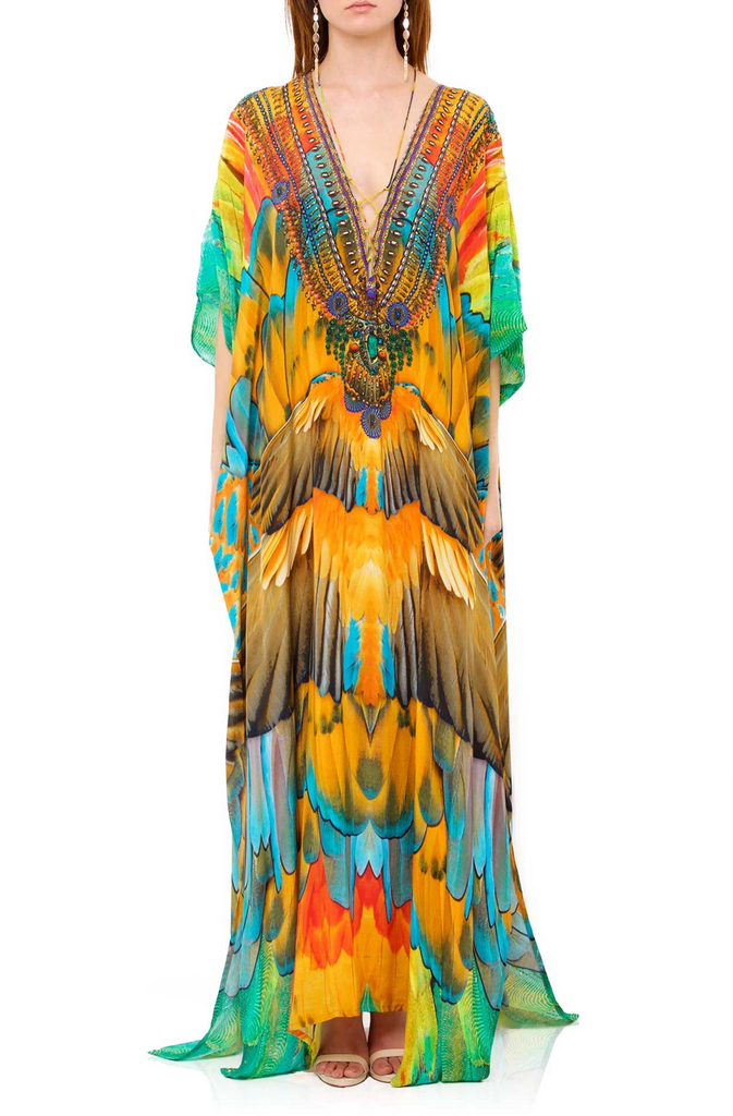 Bright Orange Macaw Shahida Parides Kaftan Dress
