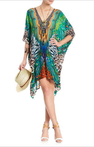 BRIGHT ORANGE MACAW SHAHIDA PARIDES KAFTAN