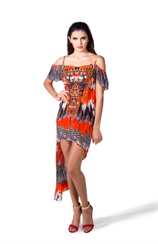 Cheetah Creme Suffle HIGH LOW SHAHIDA PARIDES DRESS