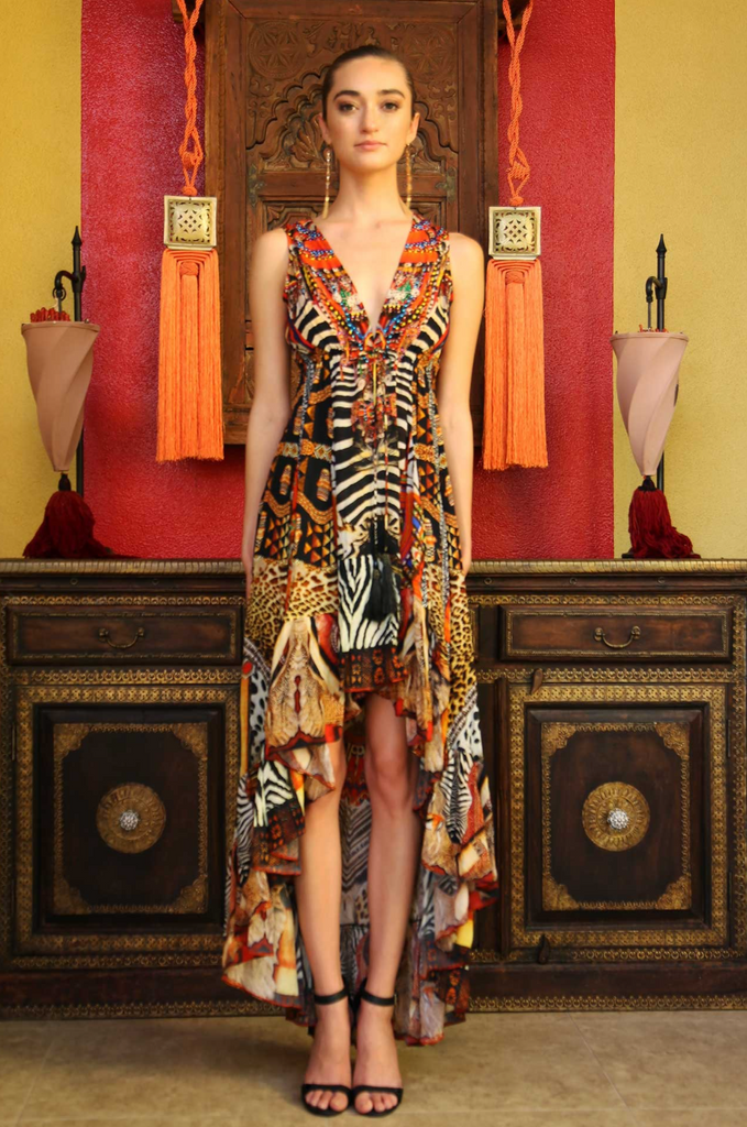 Tribal Sunset HIGH LOW SHAHIDA PARIDES DRESS