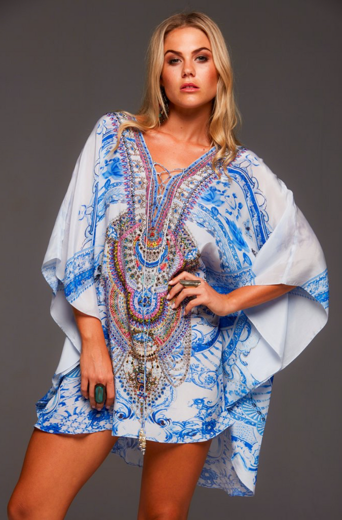 A DAY IN GREECE BUTTERFLY TOP CZARINA KAFTAN