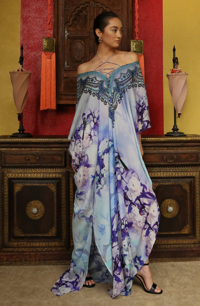 Cherry Blossom Violet Shahida Parides Kaftan Dress