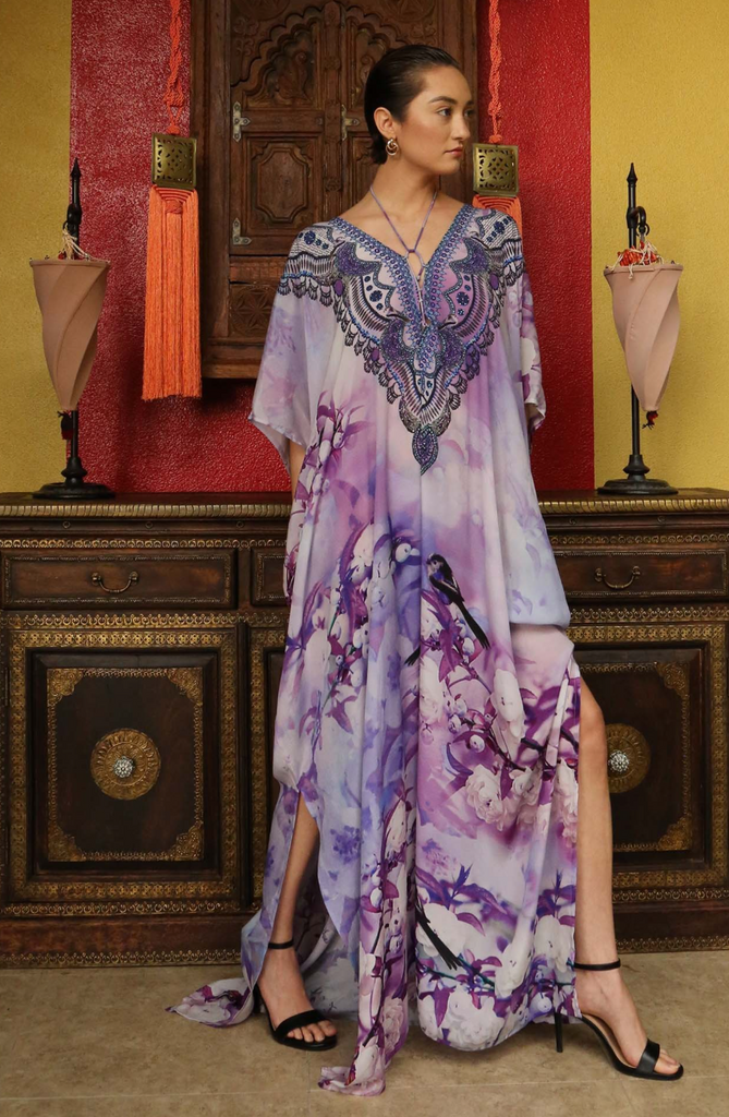 Cherry Blossom Purple Rain Shahida Parides Kaftan Dress