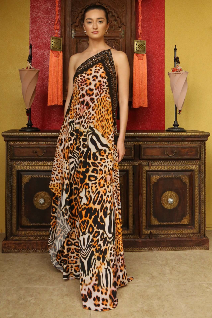 Leopard Bright Orange 3 Way Shahida Parides Dress