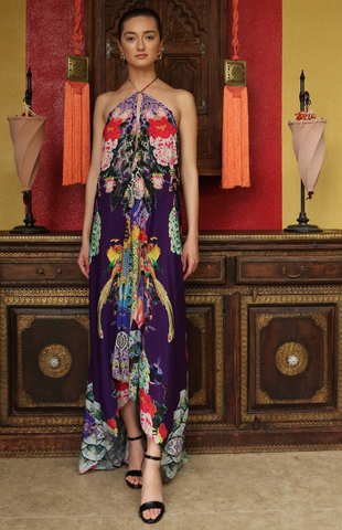 SONORAN DESERT PURPLE RAIN HI LOW SHAHIDA PARIDES DRESS
