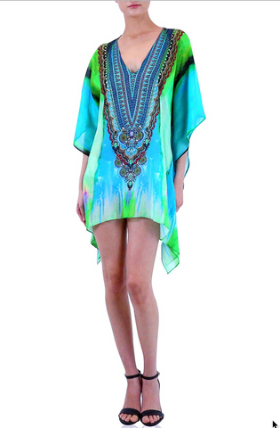 Python Lemon Drop Shahida Parides Kaftan Dress