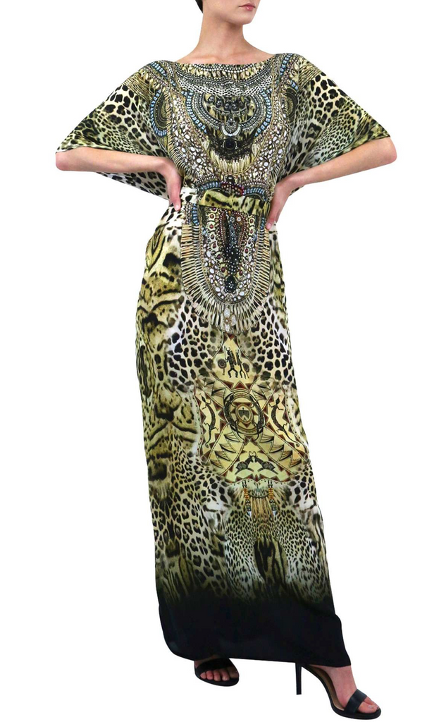 Safari Round Neck Shahida Parides Kaftan Dress