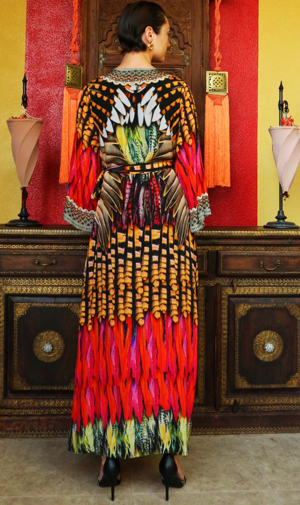 Blue Jay Bright Orange SHAHIDA PARIDES WRAP DRESS