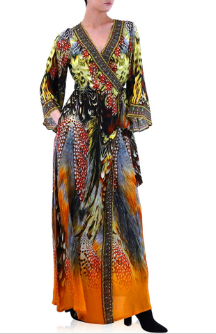 Geisha Bright Orange 3 Way Shahida Parides Dress