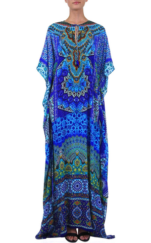Python Azure Shahida Parides Kaftan Dress