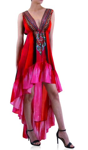 Marfa Poinsettia Shahida Parides Maxi Dress