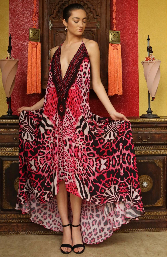 Leopard Fuchsia 3 Way Shahida Parides Dress