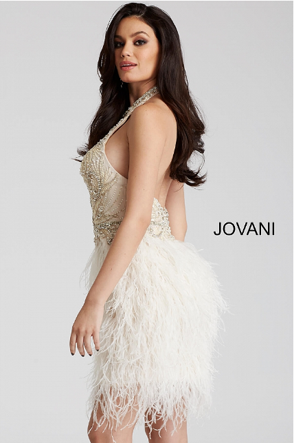 Ivory Embellished High Neck Jovani Short Dress 45547