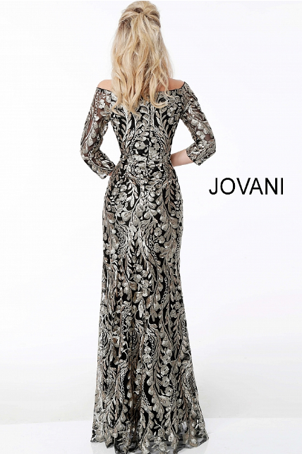 Black Gold Three Quarter Sleeve Embroidered Jovani Evening Dress 51163