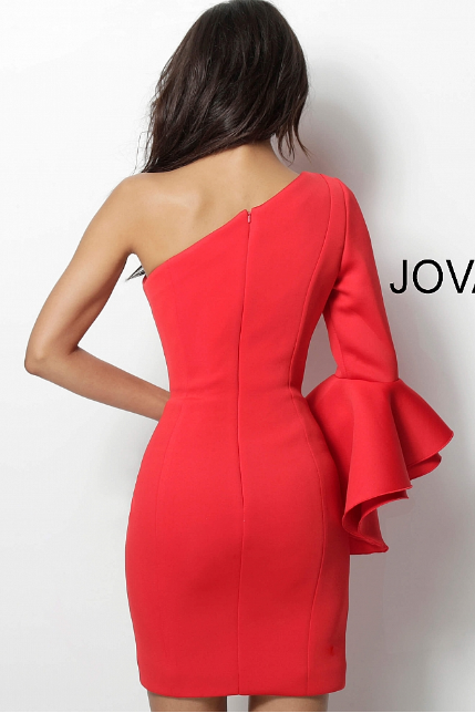 Tomato One Shoulder Scuba Short Jovani Dress 66270