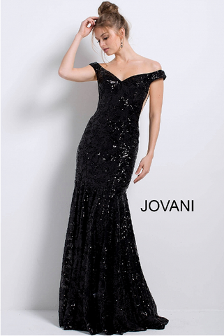 Black Fitted Off the Shoulder Jovani Evening Gown 57024 4c7c67a66