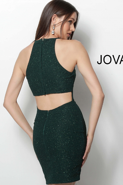Emerald High Neck Fitted Glitter Jovani Short Dress 63954