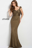 Gold Off the Shoulder Ruched Bodice Jovani Evening Gown 45156