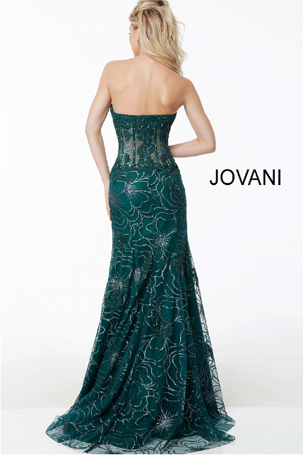 Emerald Corset Bodice Strapless Mermaid Jovani Evening Dress 62745