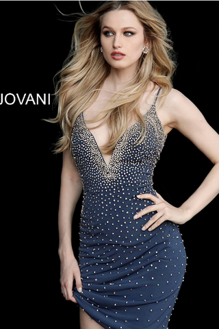 a92bb297d3aa48 Grey Beaded Fitted Jersey Sleeveless Jovani Cocktail Dress 55188