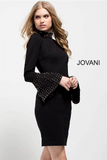 Black Fitted Long Bell Sleeve High Neck Jovani Short Dress 51675