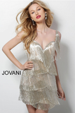 Silver Nude V Neck Fringe Sleeveless Jovani Short Dress 62975