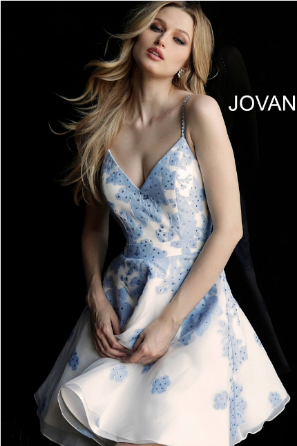 Ivory Light Blue Fit and Flare V Neck Jovani Homecoming Dress 53204