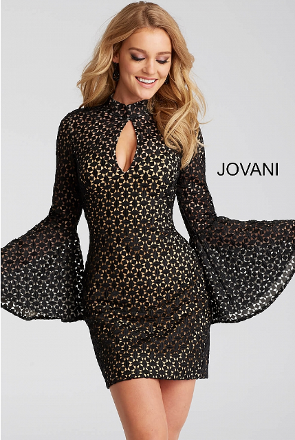 Black and Nude Lace Bell Sleeve Fitted Jovani Short Dress 51994