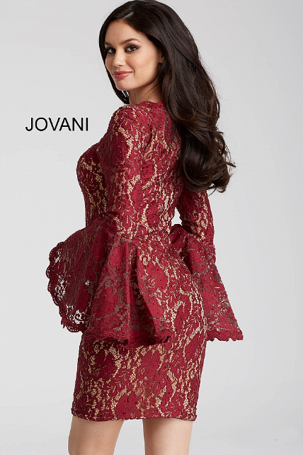 Burgundy Fitted Long Bell Sleeve Lace Jovani Short Dress 58594