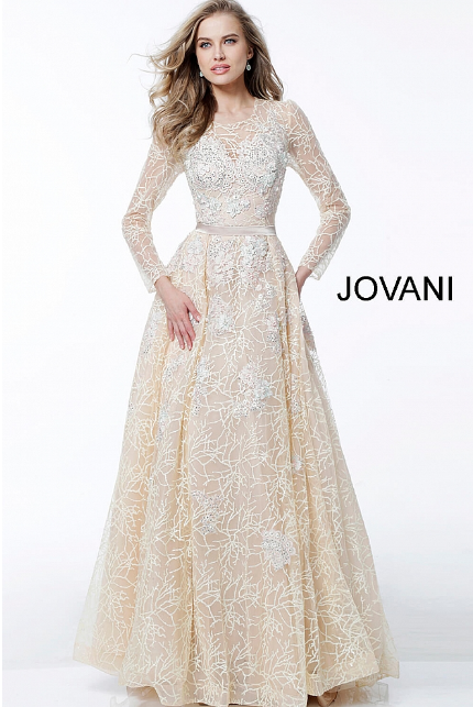 Champagne Embellished Long Sleeve A Line Jovani Evening Gown 62701