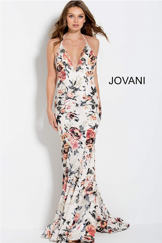 White One Shoulder Wide Leg Jovani Jumpsuit 54787