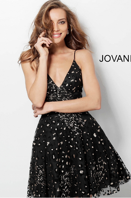 7eecb4135f012 Black Gold Glitter Fit and Flare V Neck Jovani Homecoming Dress ...