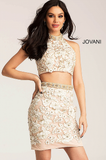 Ivory and Nude Lace Two Piece Jovani Dress 55241
