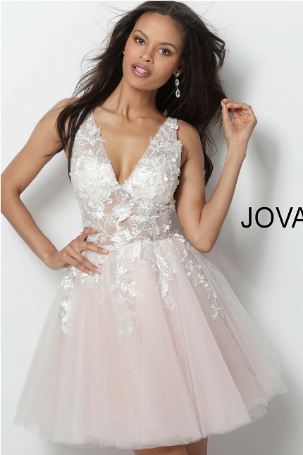 Off White Blush Floral Appliques Fit and Flare Jovani Short Dress 63987