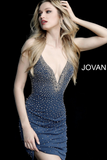 Grey Beaded Fitted Jersey Sleeveless Jovani Cocktail Dress 55188