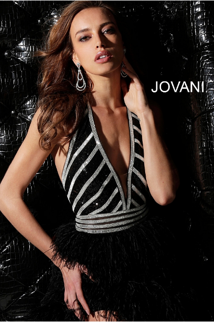 Black Silver Feather Skirt Plunging Neck Jovani Cocktail Dress 62303