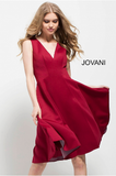 Burgundy Fit and Flare V Neck Knee Length Jovani Dress 512