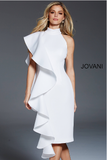 Knee Length High Neckline Ivory Scuba Jovani Formal Dress 60297