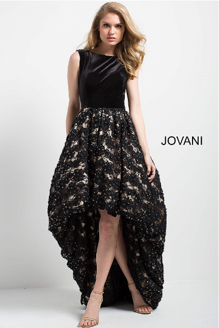 Black and Nude High Low Sleeveless Jovani Evening Gown 55916