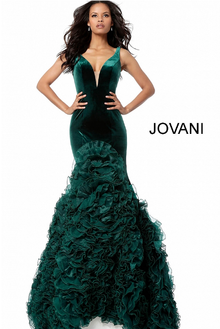 Hunter Velvet Ruffle Bottom Mermaid Jovani Evening Dress 59069